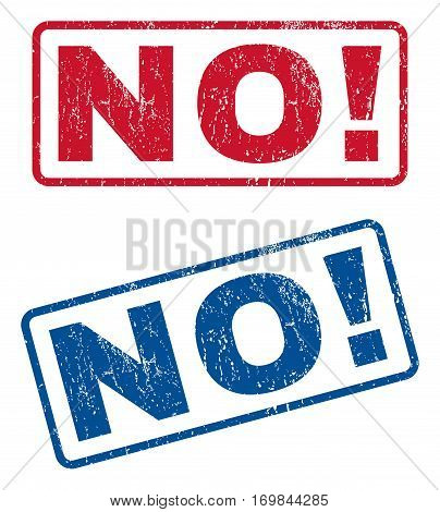 No exclamation text rubber seal stamp watermarks. Vector style is blue and red ink tag inside rounded rectangular banner. Grunge design and dust texture. Blue and red stickers.