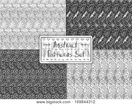 Doodle patterns. Ink strokes and lines vector textures. Set of simple sketch backdrops. Pencil effect fabric collection. Swatches for textile interior or paper design.