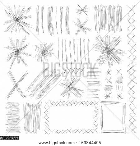 Doodles Set Scribble Sketch Hand Drawn Scrawl Collection 9