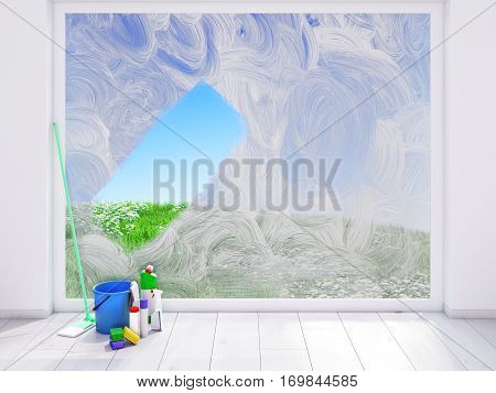 3d rendering. housecleaning at home. spring concept