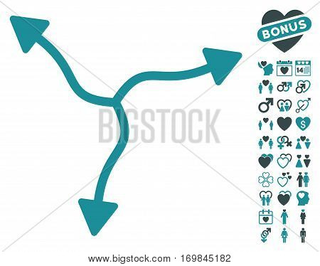 Curve Arrows icon with bonus decoration icon set. Vector illustration style is flat rounded iconic soft blue symbols on white background.