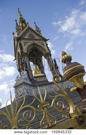 A view of the side of the Albert Memorial in London's Kensington Gardens. poster