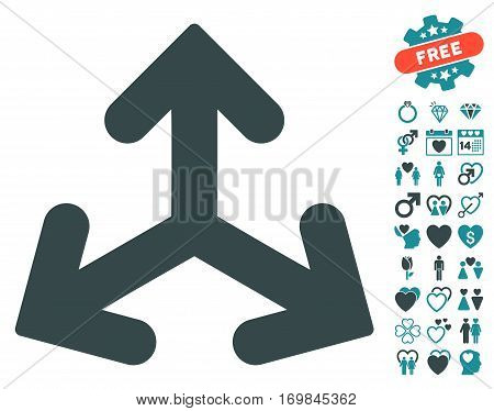 Direction Variants pictograph with bonus love design elements. Vector illustration style is flat rounded iconic soft blue symbols on white background.