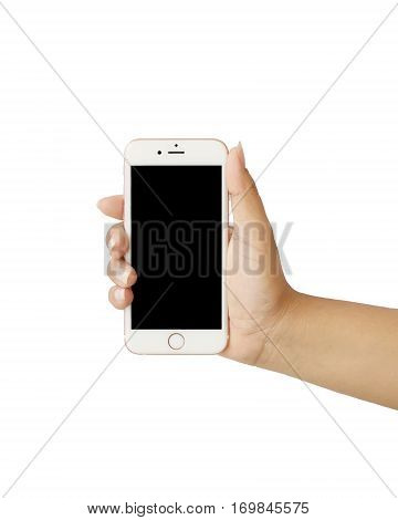 Close up woman's hand holding smart phone on a white background