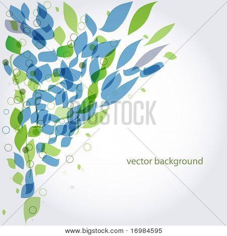 Abstract background with green and blue leaves