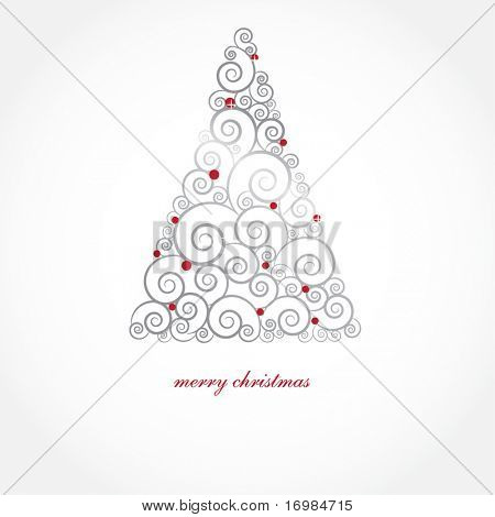 Vintage christmas card with holiday tree