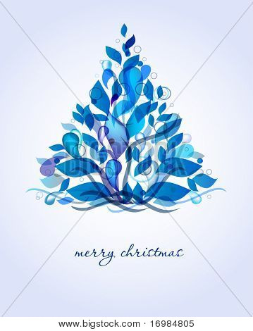 Abstract blue christmas tree from drops and leaves