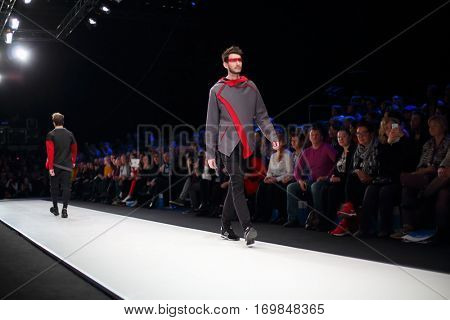 MOSCOW - MAR 25, 2016: Models on catwalk at XI International Competition of Young Designers Russian Silhouette in Gostiny Dvor during Fashion Week in Moscow