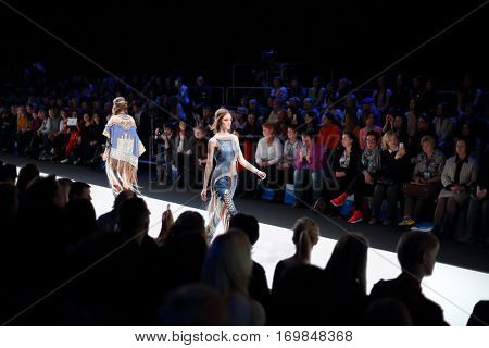 MOSCOW - MAR 25, 2016: Show of XI International Competition of Young Designers Russian Silhouette in Gostiny Dvor during Fashion Week in Moscow