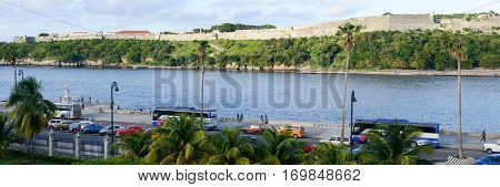The Bay Of Havana With In Background La Cabana Fortress