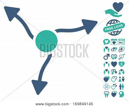 Curve Arrows pictograph with bonus valentine symbols. Vector illustration style is flat rounded iconic cobalt and cyan symbols on white background.