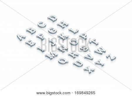 Glass transparent alphabet isometric view 3d rendering. Clear realistic letters set rendered from isometry side. Shiny acrylic abc types cut out. Glassy bright crystal typography characters text.