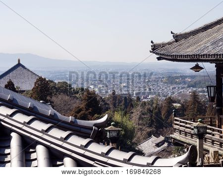 Panoramic view of Nara city from Nigatsudo hall in Todaiji temple