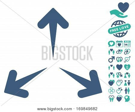 Expand Arrows pictograph with bonus dating icon set. Vector illustration style is flat rounded iconic cobalt and cyan symbols on white background.