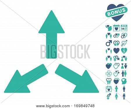 Expand Arrows pictograph with bonus romantic icon set. Vector illustration style is flat rounded iconic cobalt and cyan symbols on white background.