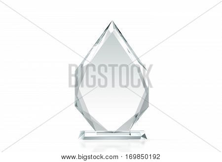 Blank arrow shape glass trophy mockup 3d rendering. Empty acrylic award design mock up. Transparent crystal prize plate template. Premium grand prix prise plaque isolated on white front view.