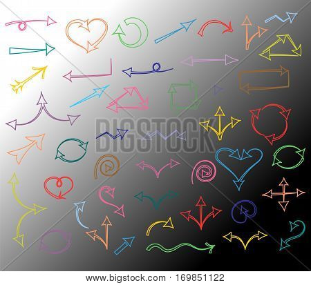 Colorful Hand Drawn Arrows isolated on Monochrome Background.Sketch Style. Prefect for Design. Vector Illustration.
