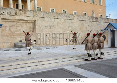 ATHENS, GREECE - OCTOBER 17: Changing the Guard in front of the Tomb of Unknown Soldier with famous greek elite unit Evzones OCTOBER 17, 2014 in Athens, Greece