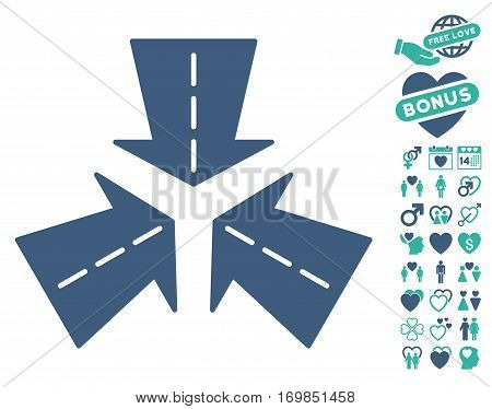 Merge Directions icon with bonus passion clip art. Vector illustration style is flat rounded iconic cobalt and cyan symbols on white background.