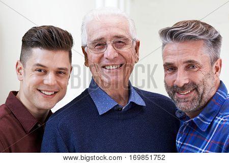 Portrait Of Male Multi Generation Portrait At Home