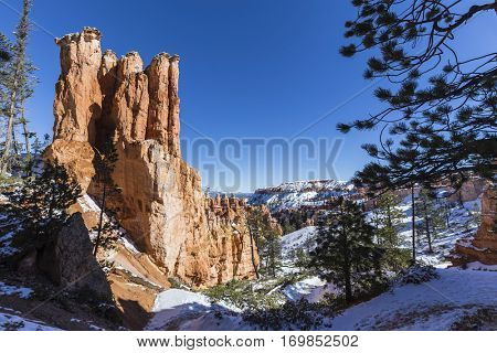 Hoodoo and snow at Bryce Canyon National Park in Southern Utah.