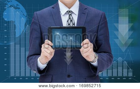 Businessman Showing A Mobile Computer A Schedule Of Loss.