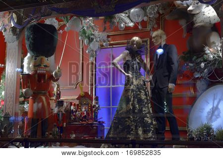 ST. PETERSBURG, RUSSIA - DECEMBER 9, 2016: Show window of department store DLT decorated for Christmas. Windows of the oldest department store of St. Petersburg were united by the theme of fairy tales