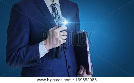 Businessman stands with a microphone concept design illustration banner