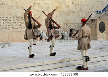 ATHENS, GREECE - OCTOBER 17: Changing the Guard in front of Parliament Building with famous greek elite unit Evzones  OCTOBER 17, 2014 in Athens, Greece