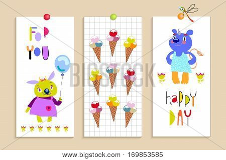 Funny monsters.Set of banners, flyers, cards with funny fantastic characters and ice cream. Bright colorful background for children's design, advertising. Summer collection. Vector illustration