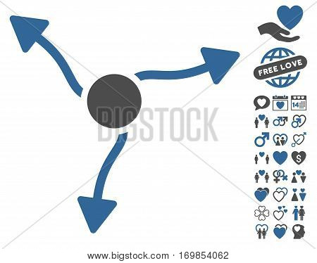 Curve Arrows icon with bonus decorative graphic icons. Vector illustration style is flat rounded iconic cobalt and gray symbols on white background.