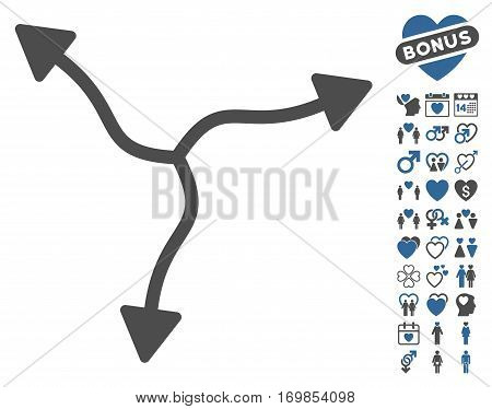 Curve Arrows pictograph with bonus marriage icon set. Vector illustration style is flat rounded iconic cobalt and gray symbols on white background.