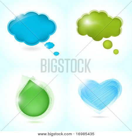 Speech bubbles set  from  water drop, heart and clouds poster