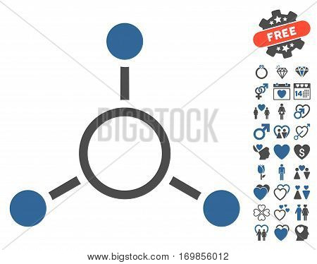 Radial Structure pictograph with bonus marriage design elements. Vector illustration style is flat rounded iconic cobalt and gray symbols on white background.