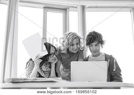 Businesspeople working in creative office
