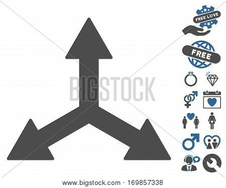 Triple Arrows pictograph with bonus dating clip art. Vector illustration style is flat rounded iconic cobalt and gray symbols on white background.