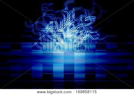 winding line on a blue background, abstract