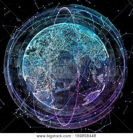 3d illustration of detailed virtual planet Earth. Technological digital globe world
