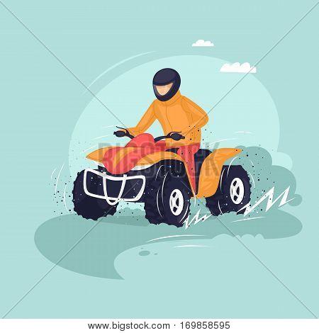 Young man riding a quad bike. Vector illustration of a flat design.