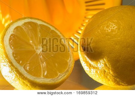 Two lemons and fresh squeezer vitamin c