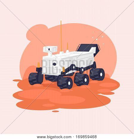 Mars exploration rover. Flat vector illustration in cartoon style.