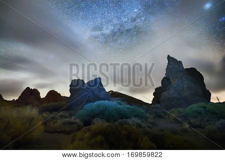 night sky with milky way on teide crater, tenerife, spain