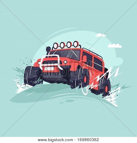 Off-road. Competitions on Suvs. Flat vector illustration in cartoon style.