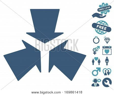 Shrink Arrows pictograph with bonus decoration symbols. Vector illustration style is flat rounded iconic cyan and blue symbols on white background.