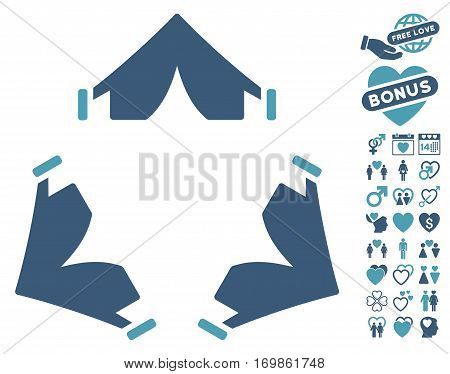 Tent Camp icon with bonus valentine pictograms. Vector illustration style is flat rounded iconic cyan and blue symbols on white background.