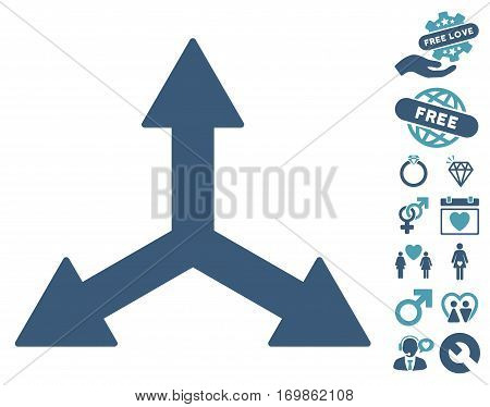 Triple Arrows icon with bonus dating graphic icons. Vector illustration style is flat rounded iconic cyan and blue symbols on white background.