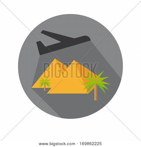 Flat Icon of Fly Away Plane And Pyramid For Travel And Beach