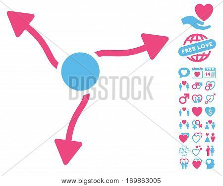 Curve Arrows pictograph with bonus passion symbols. Vector illustration style is flat rounded iconic pink and blue symbols on white background.