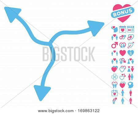 Curve Arrows pictograph with bonus love clip art. Vector illustration style is flat rounded iconic pink and blue symbols on white background.