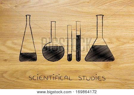 Lab Phials With Liquids, Science And Chemistry